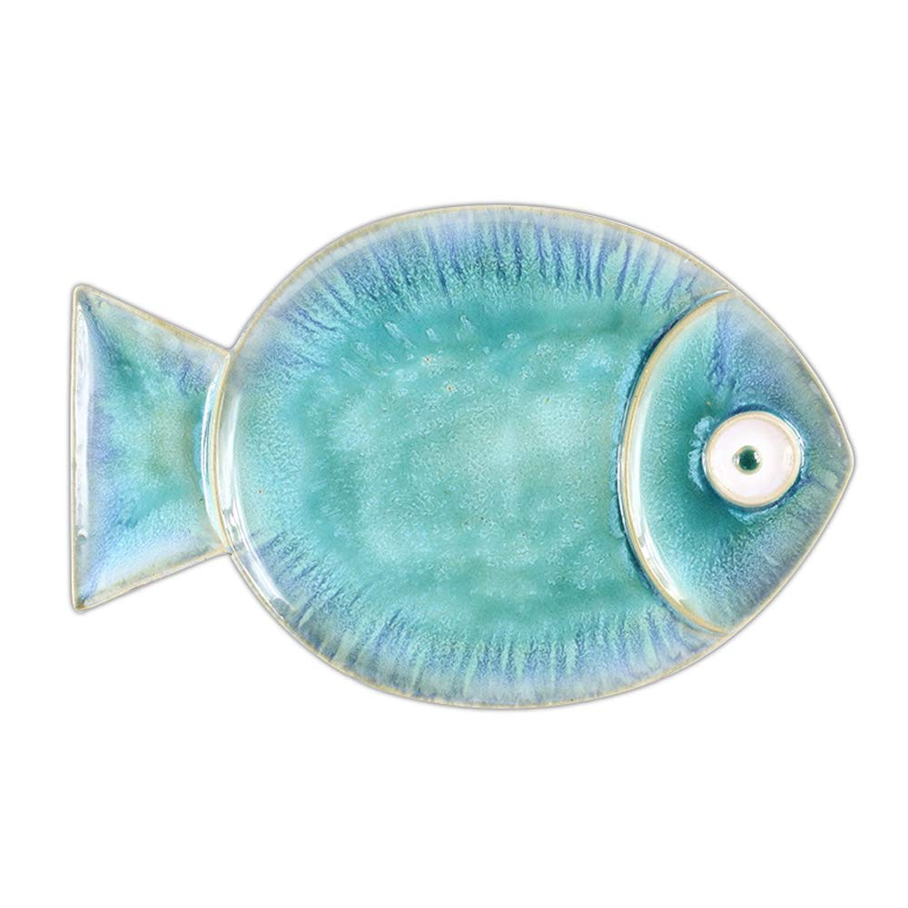 Amazon: Chinoiseriehouse Sea World Ceramic Wall Decor Fish With Regard To Well Known Ceramic Blue Fish Plate Wall Decor (Gallery 15 of 20)