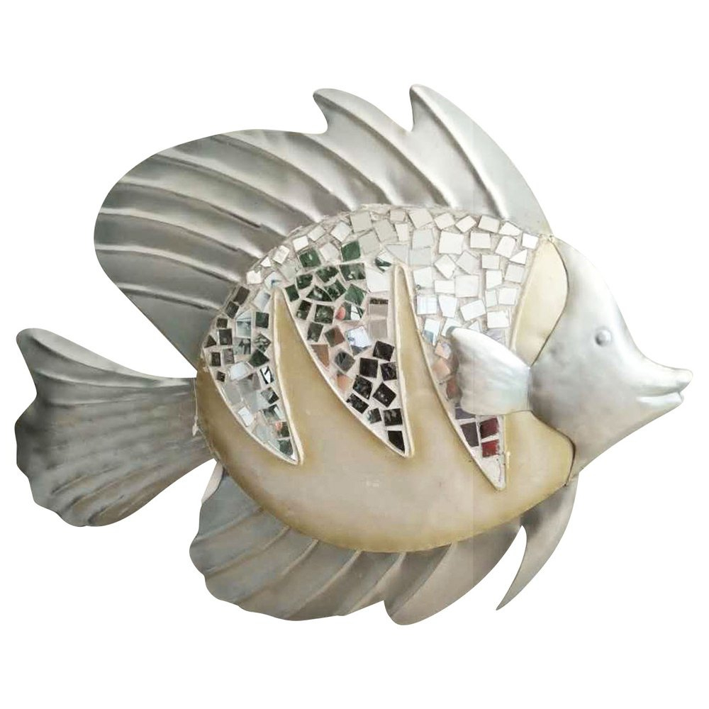 "Amazon: Comfy Hour 13"" Silver White Metal Art Coastal Fish Wall Pertaining To Most Current Coastal Metal Fish Wall Decor (View 4 of 20)"