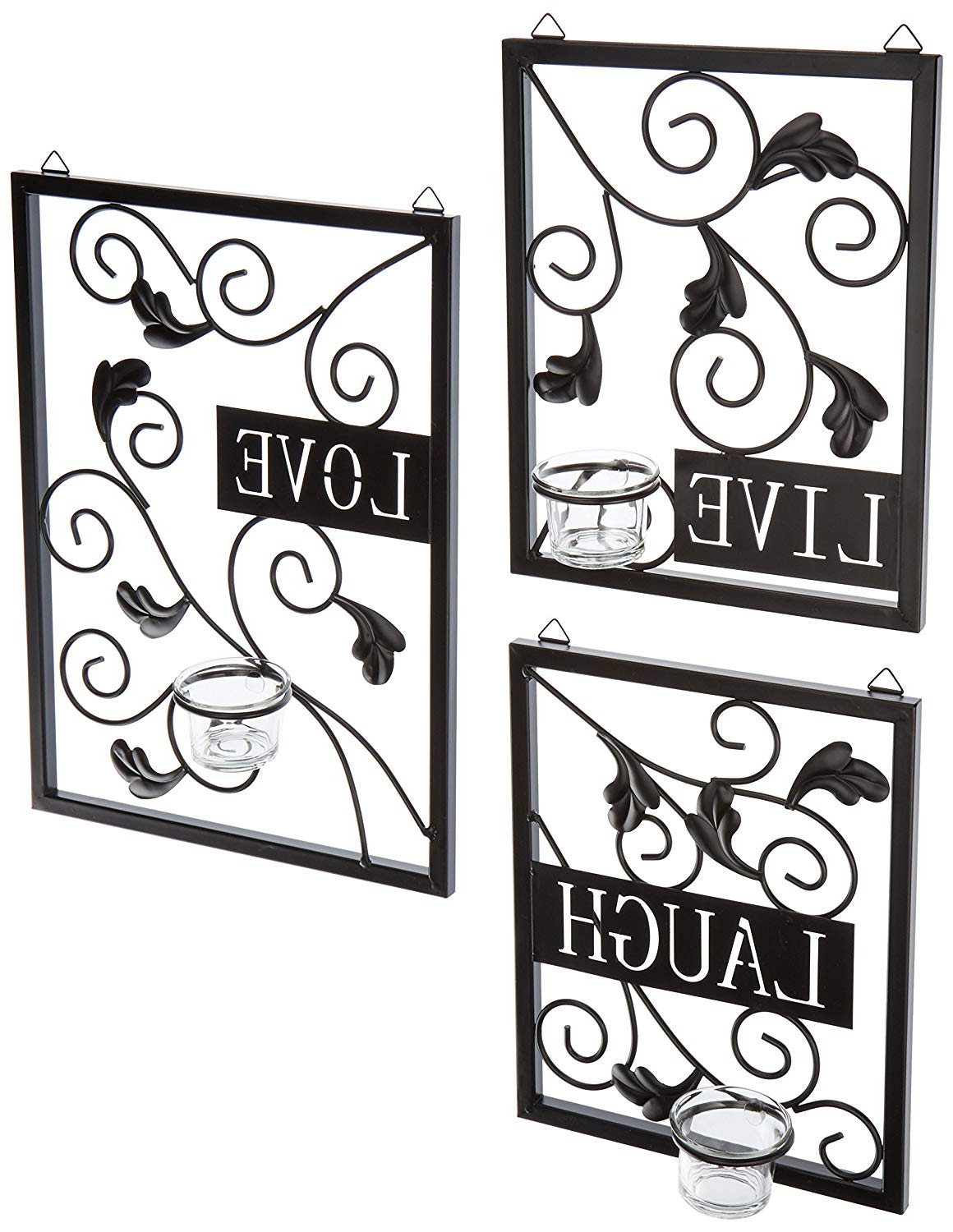Amazon: Live, Love, Laugh Wall Decor: Home & Kitchen With Most Up To Date Live Love Laugh 3 Piece Black Wall Decor Sets (Gallery 4 of 20)