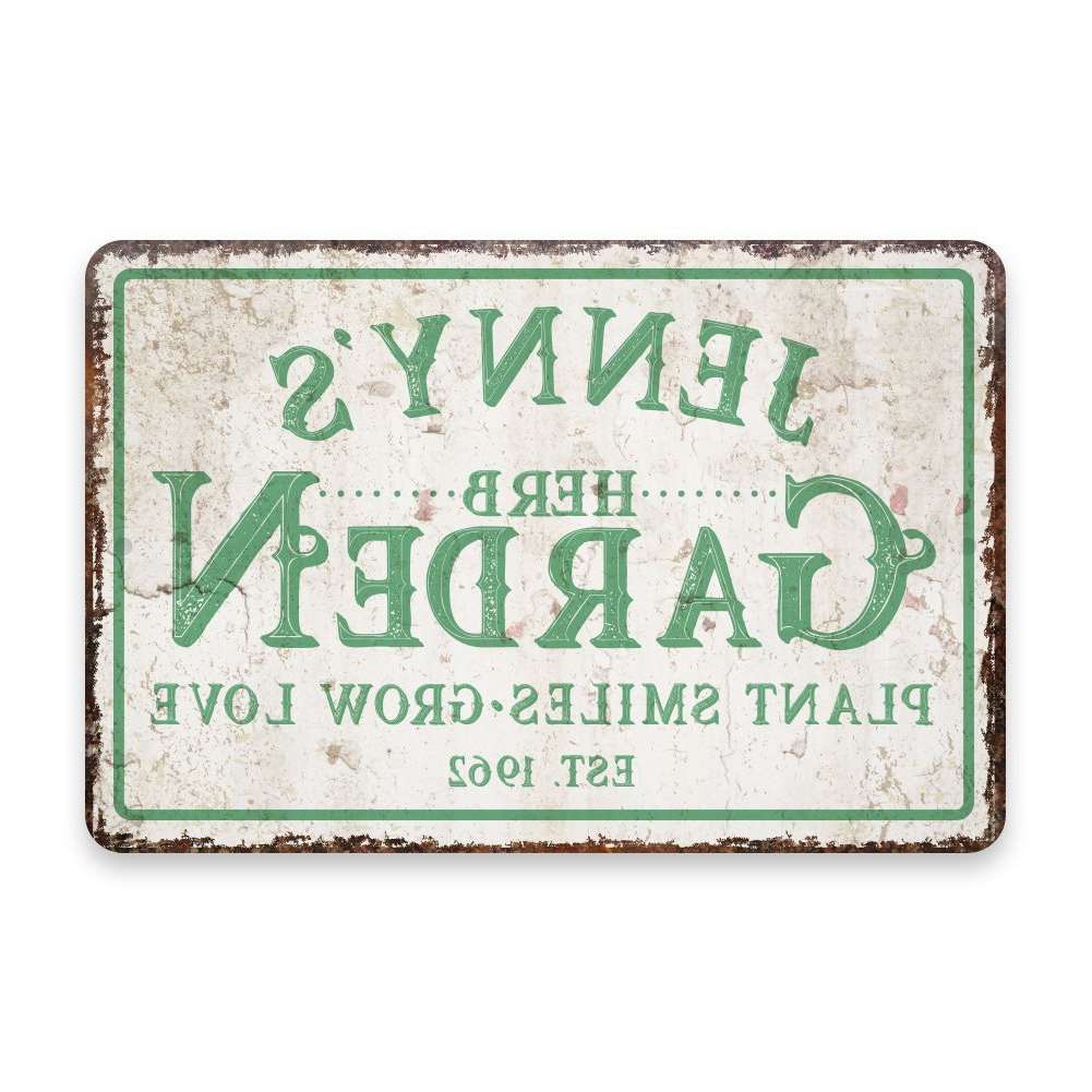 Amazon: Personalized Vintage Distressed Look Herb Garden Metal With Regard To Best And Newest Personalized Mint Distressed Vintage Look Laundry Metal Sign Wall Decor (View 7 of 20)