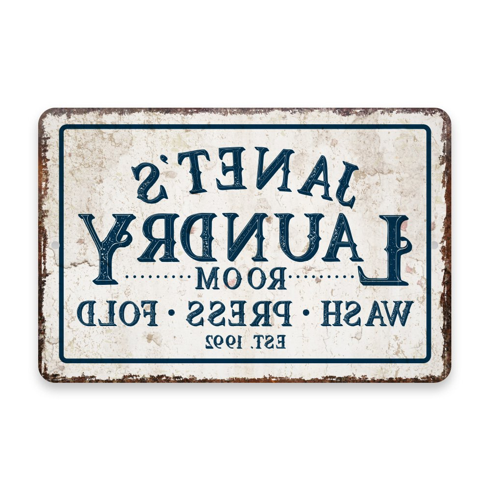Amazon: Personalized Vintage Distressed Look Laundry Wash Press For Newest Personalized Mint Distressed Vintage Look Laundry Metal Sign Wall Decor (View 4 of 20)