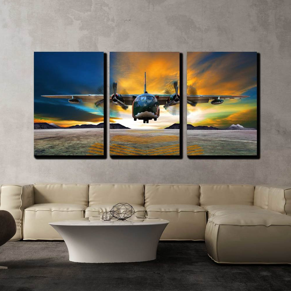 Amazon: Wall26 – 3 Piece Canvas Wall Art – Military Plane Inside Most Current Landing Art Wall Decor (Gallery 12 of 20)