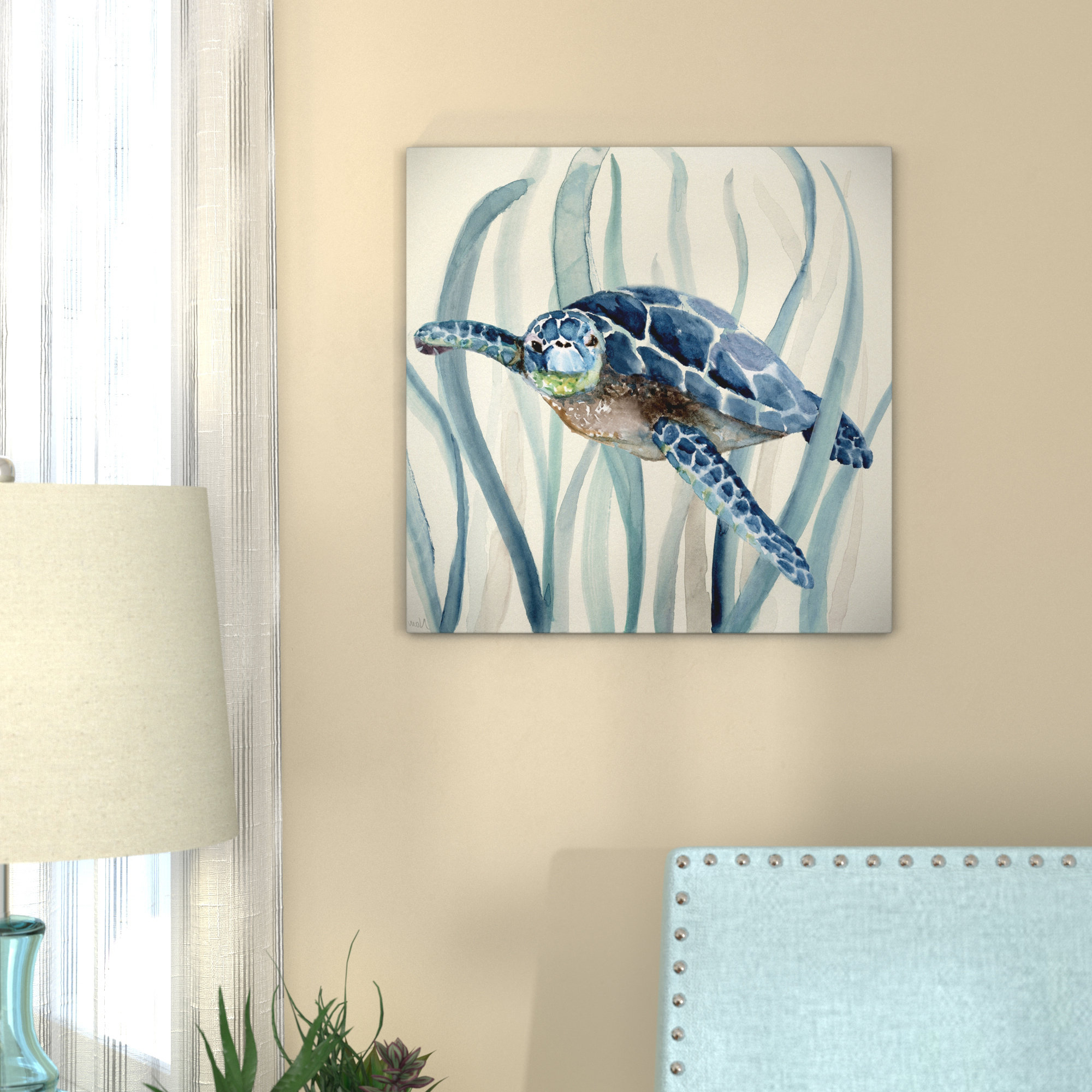 Bay Isle Home 'turtle In Seagrass I' Oil Painting Print On Wrapped Inside Most Up To Date Rhys Turtle Decor Wall Decor (View 2 of 20)