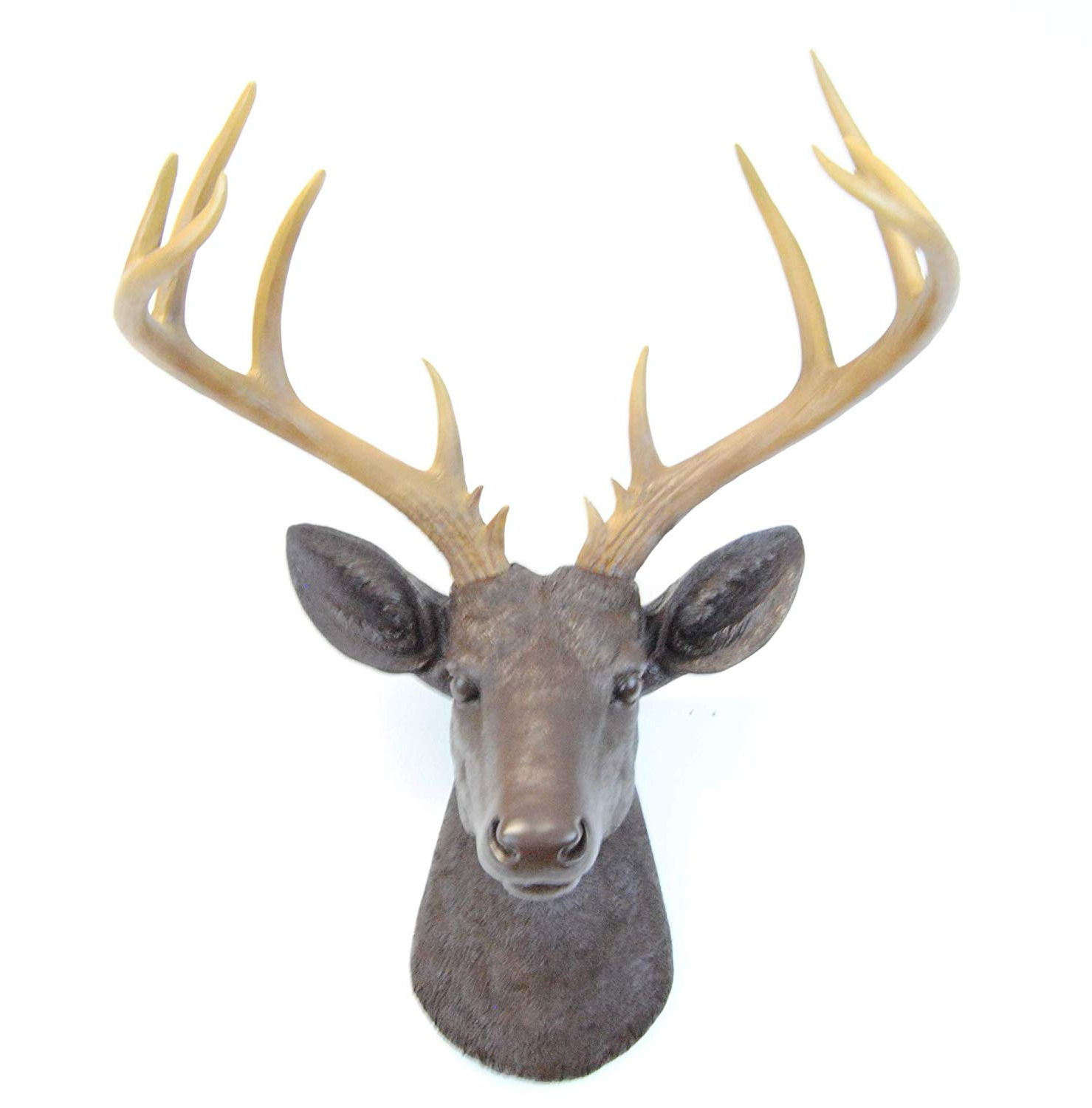 Best And Newest Large Deer Head Faux Taxidermy Wall Decor Regarding Amazon: Near And Deer 14 Point Fake Deer Head – Large Faux (Gallery 9 of 20)