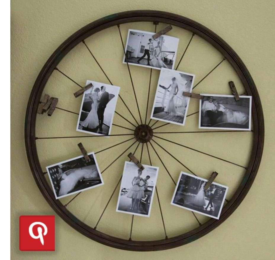 Bicycle Decor, Diy Recycle, Bicycle Wheel Within Millanocket Metal Wheel Photo Holder Wall Decor (View 6 of 20)