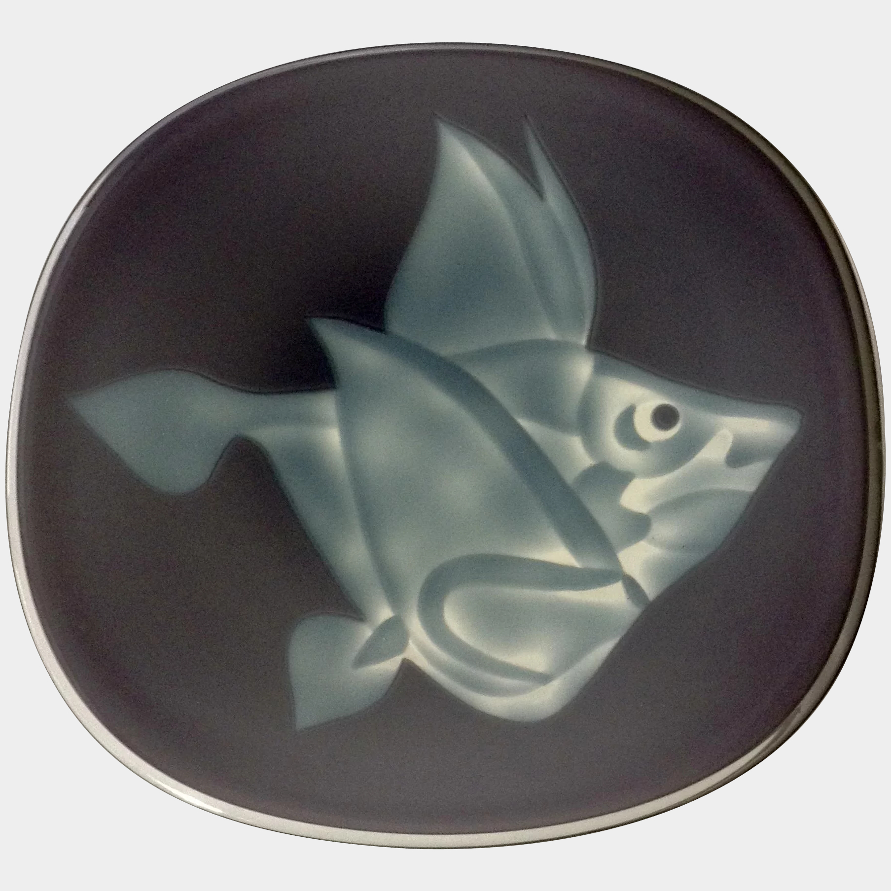 Ceramic Blue Fish Plate Wall Decor Throughout Favorite Art Glass Etched Fish Plate Purple And Blue Cased Serving Platter Or (View 8 of 20)