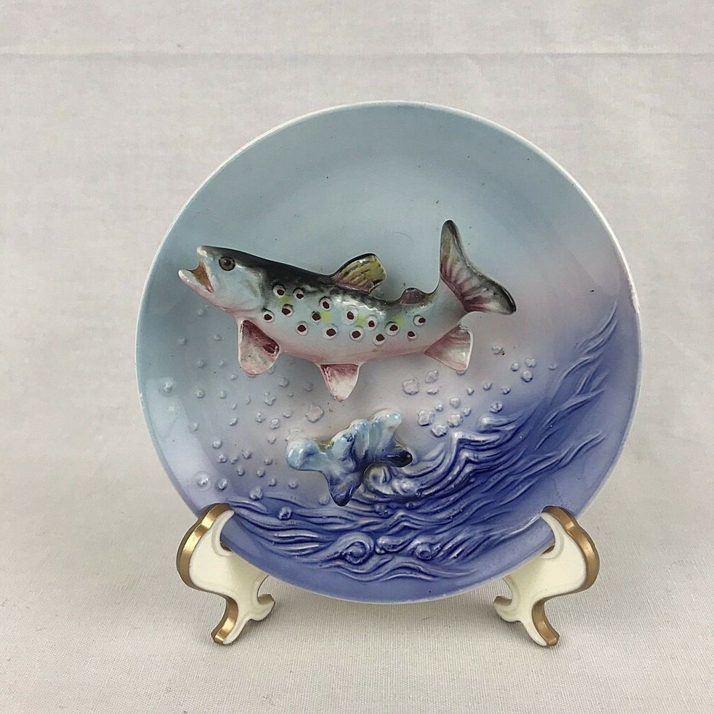 Ceramic Blue Fish Plate Wall Decor With Preferred Lefton 533 Fish Plate Wall Decor Blue 3d Japan Vitnage Trout (View 2 of 20)