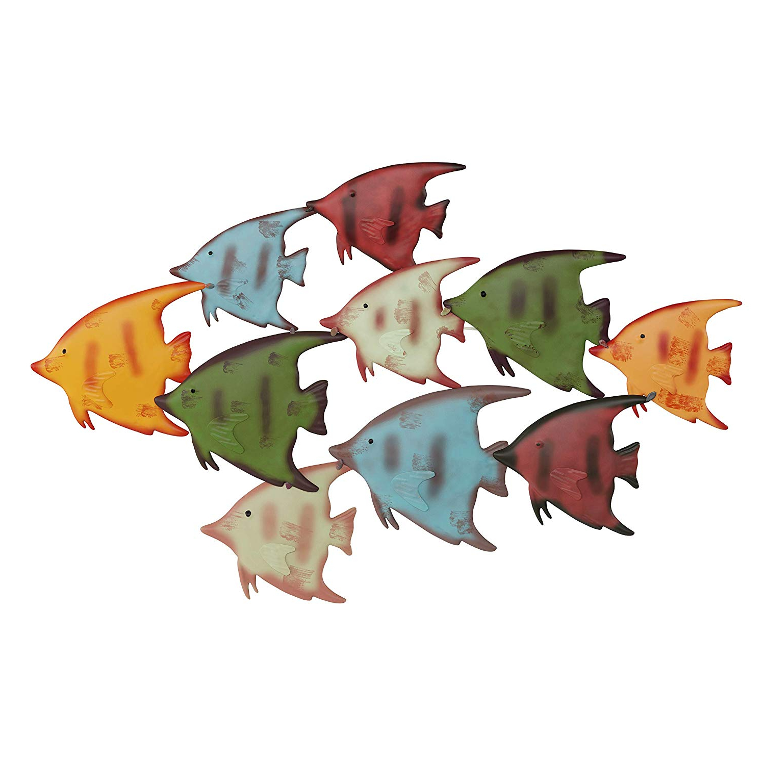 Coastal Metal Fish Wall Decor For Most Current Amazon: Lavish Home School Of Fish Wall Art Nautical 3d Metal (View 16 of 20)
