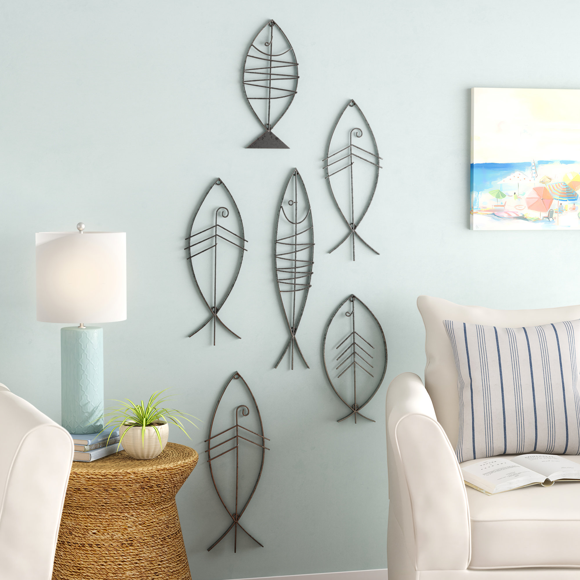 Coastal Metal Fish Wall Decor For Most Recent Highland Dunes 6 Piece Coastal Metal Fish Wall Decor Set & Reviews (View 15 of 20)