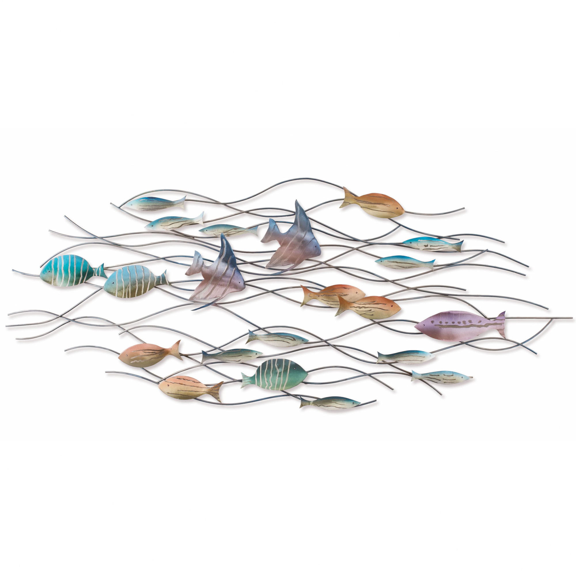 Coastal Metal Fish Wall Decor In Current Large School Of Tropical Fish – Nautical Metal Wall Art (View 8 of 20)