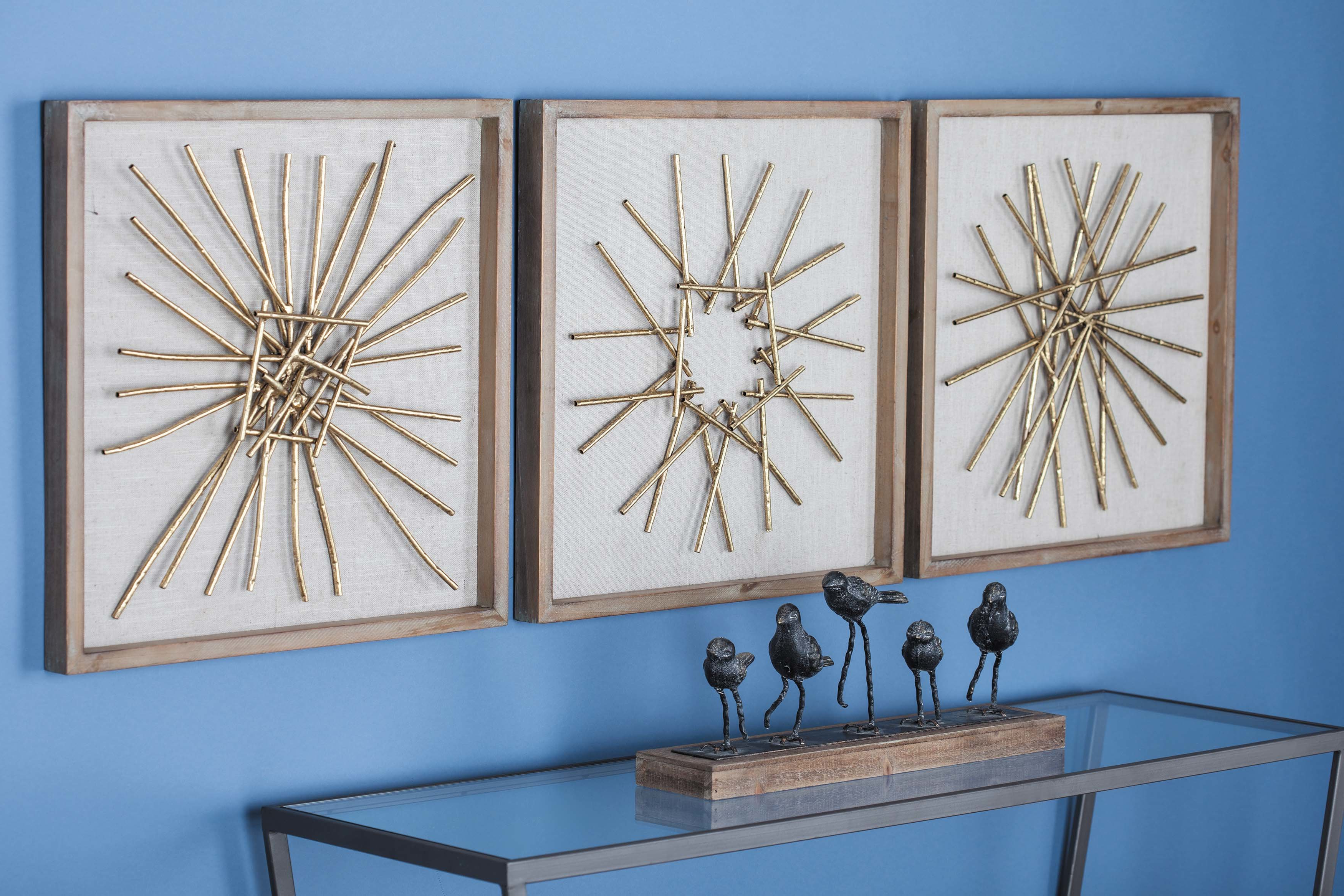 Cole & Grey 3 Piece Metal/wood Wall Décor Set & Reviews (Gallery 2 of 20)