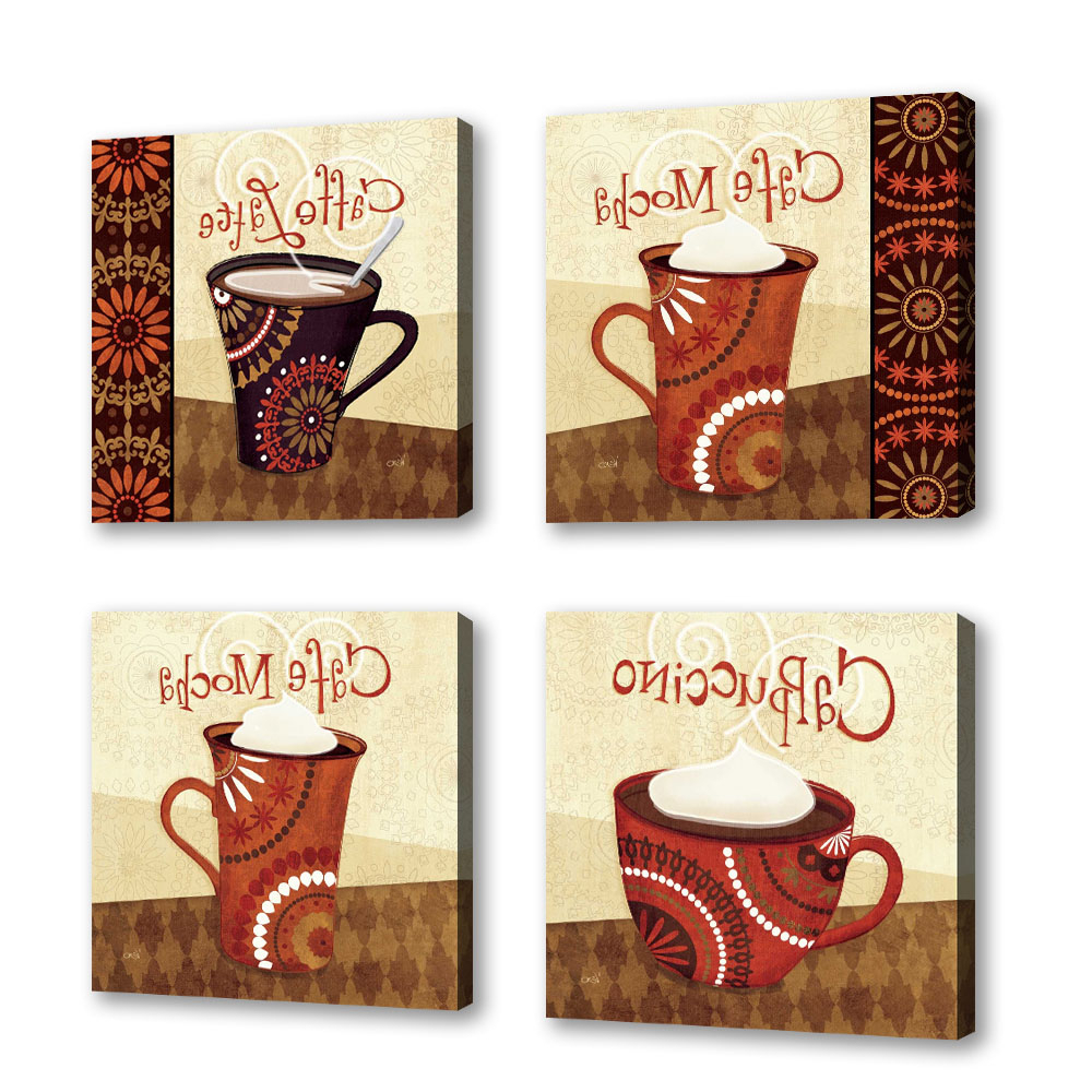 Cup Of Joe Wall Decor Throughout Preferred Set Of 4 – Cup Of Joe Iii – Contemporary Fine Art Giclee On Canvas (View 6 of 20)
