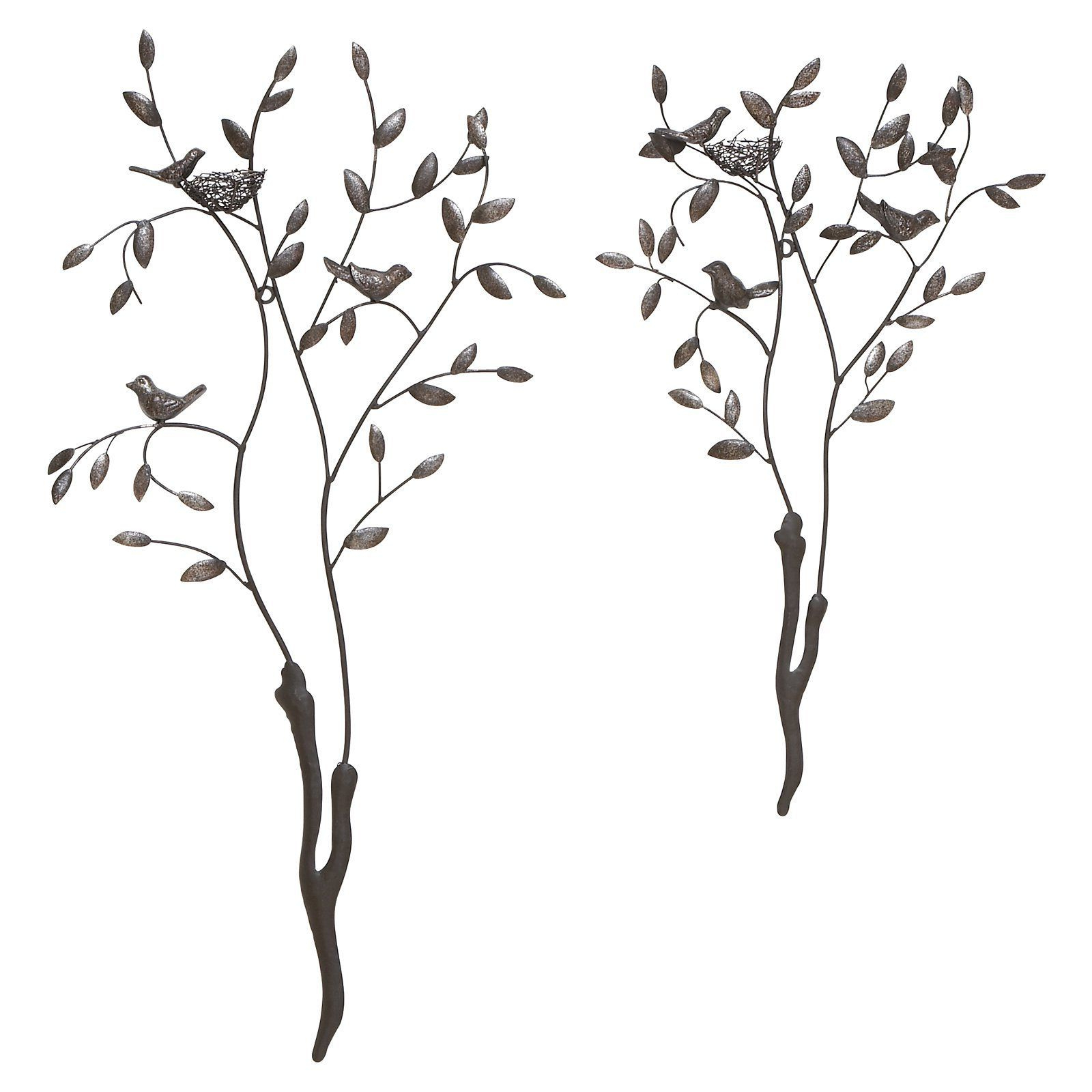 Decmode Birds With Nests In Trees Wall Sculpture – Set Of 2 – 68741 Pertaining To Best And Newest Tree Of Life Wall Decor By Red Barrel Studio (Gallery 14 of 20)
