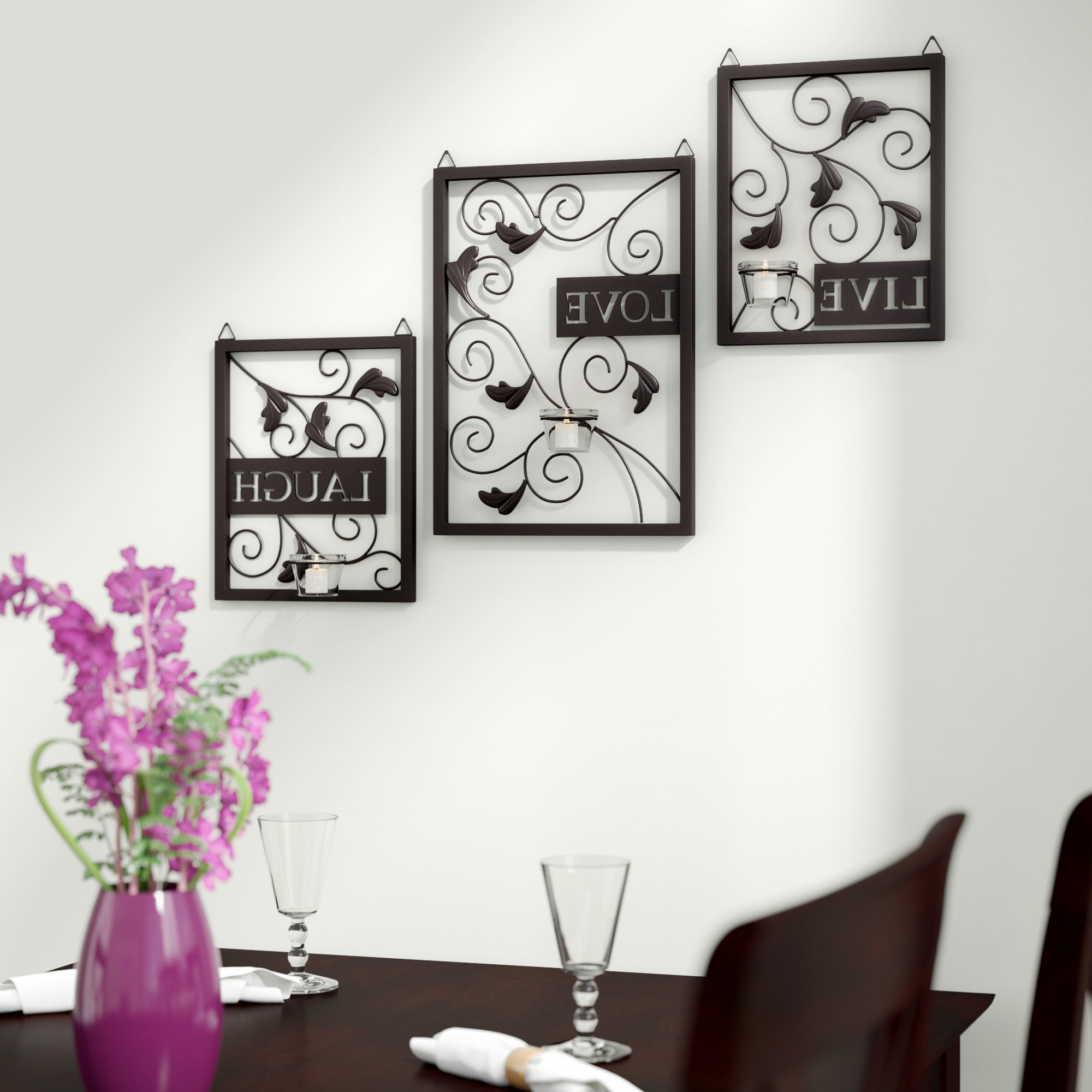 Featured Photo of Live Love Laugh 3 Piece Black Wall Decor Sets