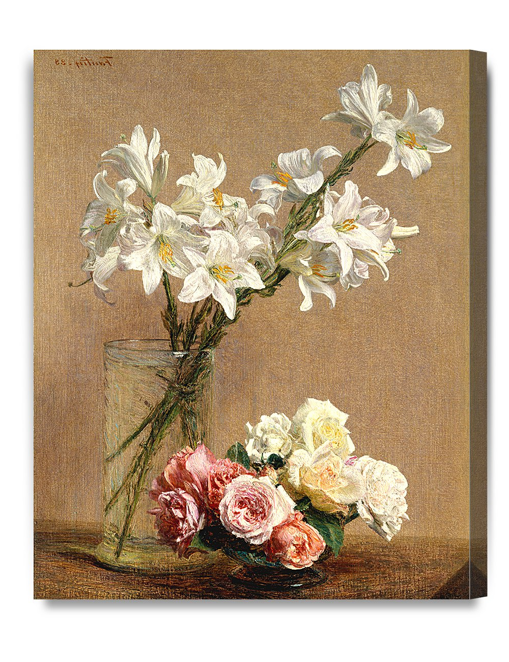 Famous Amazon: Decorarts Roses And Lilieshenri Fantin Latour Oil With Regard To Latour Wall Decor (View 2 of 20)