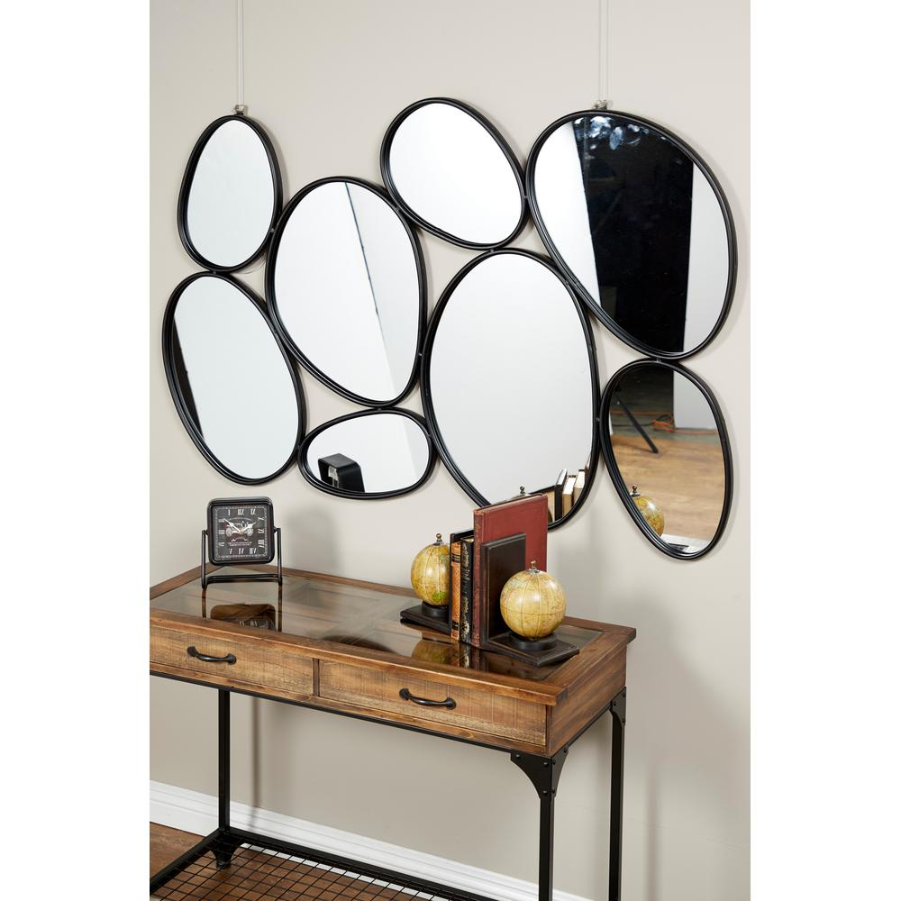 Famous Maxwell Wood And Metal Wall Decor Regarding Litton Lane Contemporary Geometric Oval Mirrors Wall Decor With (View 9 of 20)