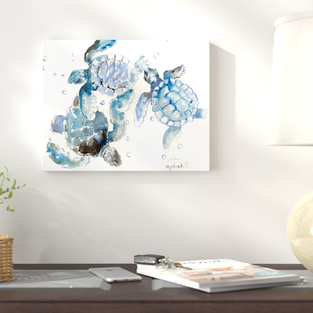 Famous Rhys Turtle Decor Wall Decor Inside East Urban Home 'sea Turtles' Watercolor Painting Print & Reviews (View 5 of 20)