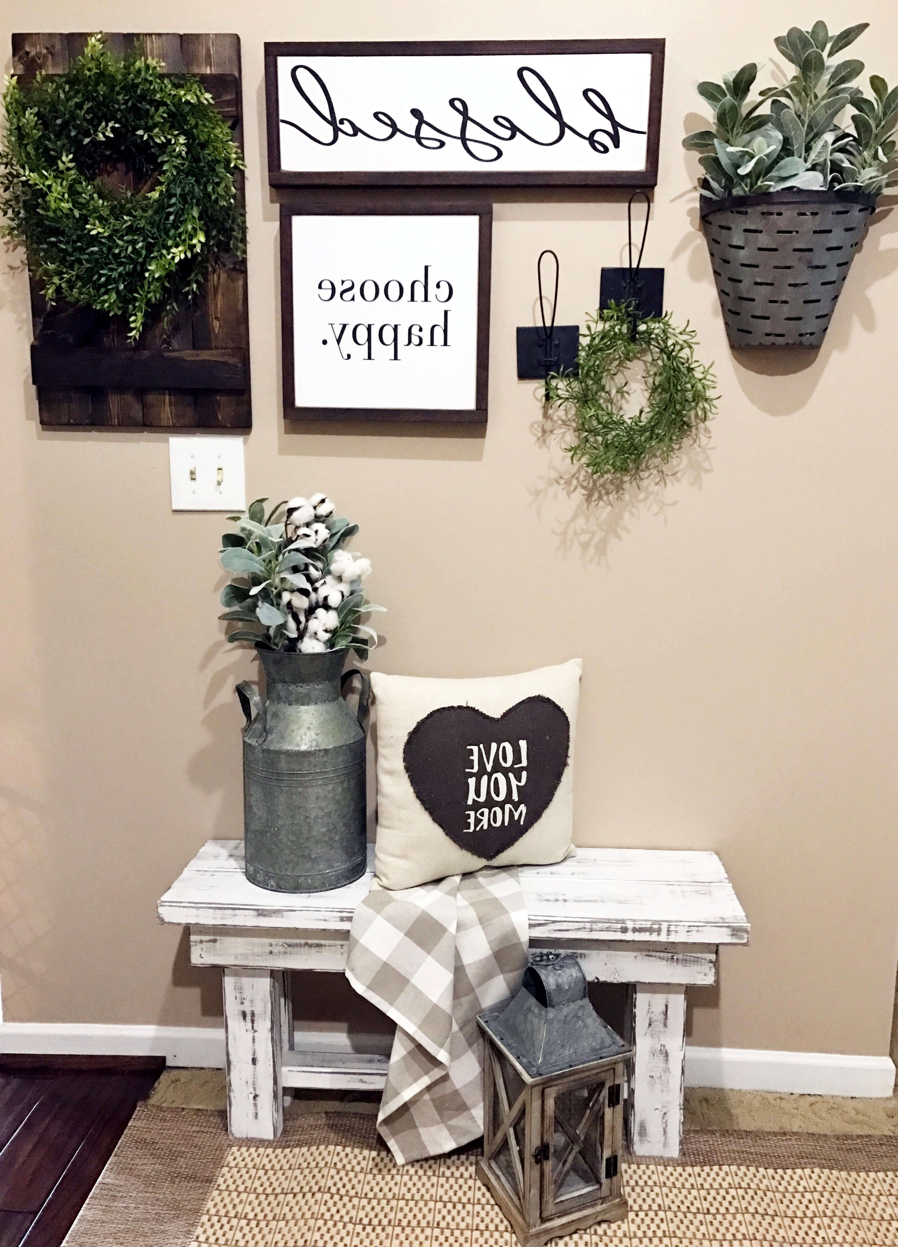 Fashionable 45+ Best Farmhouse Wall Decor Ideas And Designs For 2019 Throughout Choose Happy Wood Wall Decor (View 19 of 20)