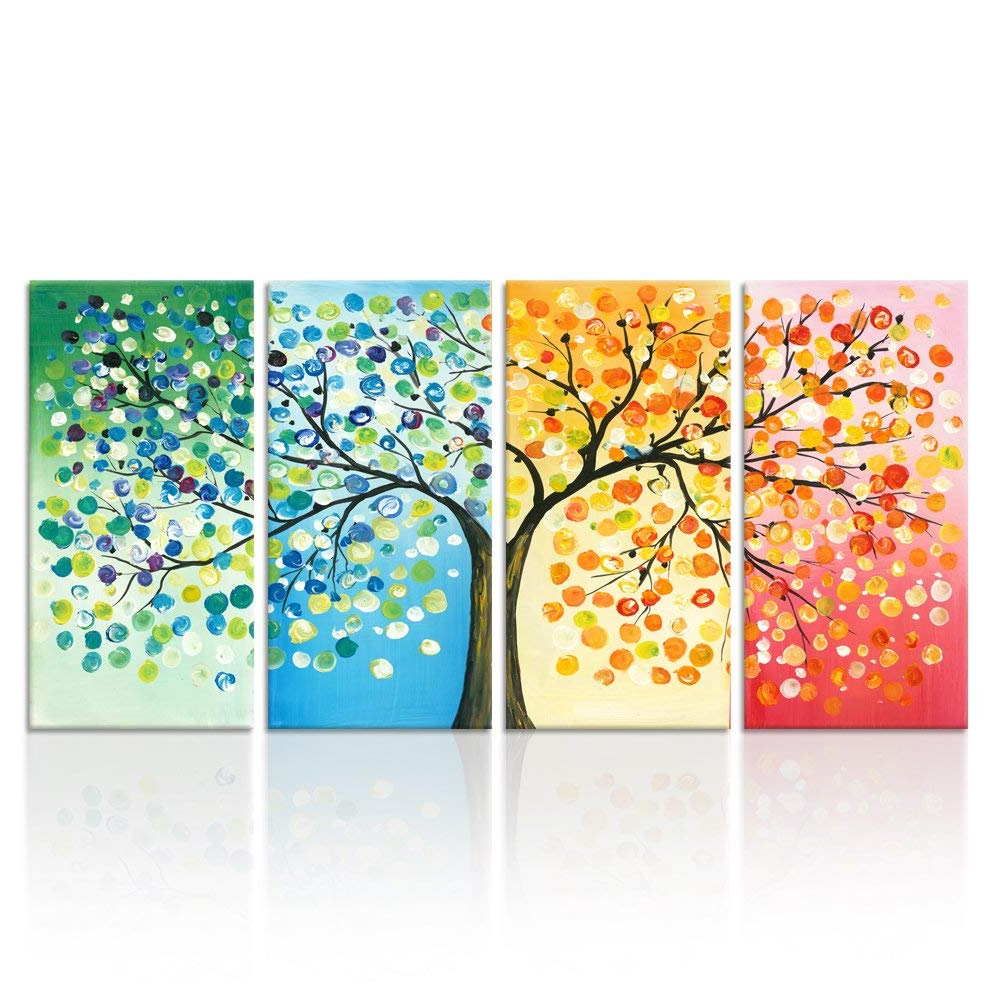 Fashionable Tree Of Life Wall Decor By Red Barrel Studio In Amazon: Kreative Arts – 4 Seasons Colorful Lucky Tree Painting (View 8 of 20)