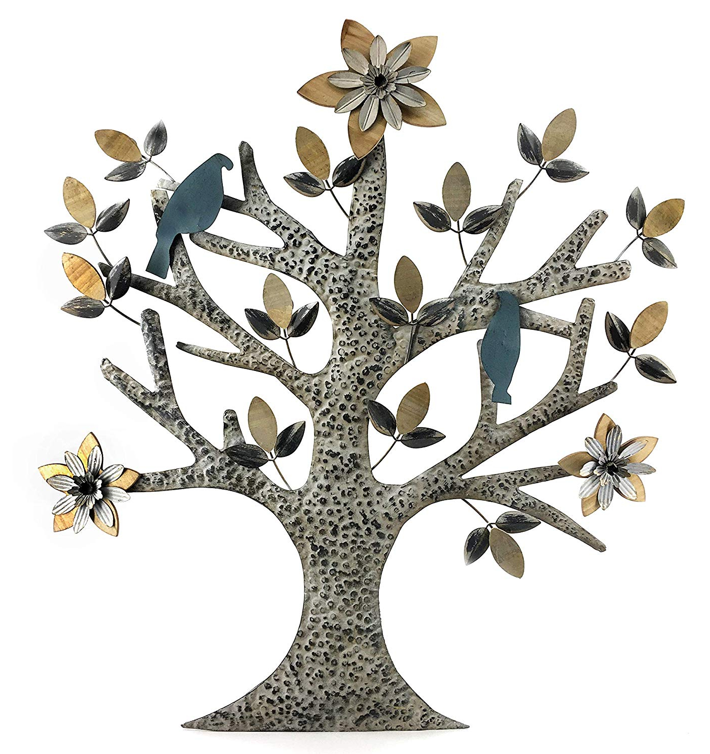 Fashionable Tree Shell Leaves Sculpture Wall Decor Inside Amazon: Bellaa 23974 Tree Of Life Wood And Metal Wall Art (View 4 of 20)