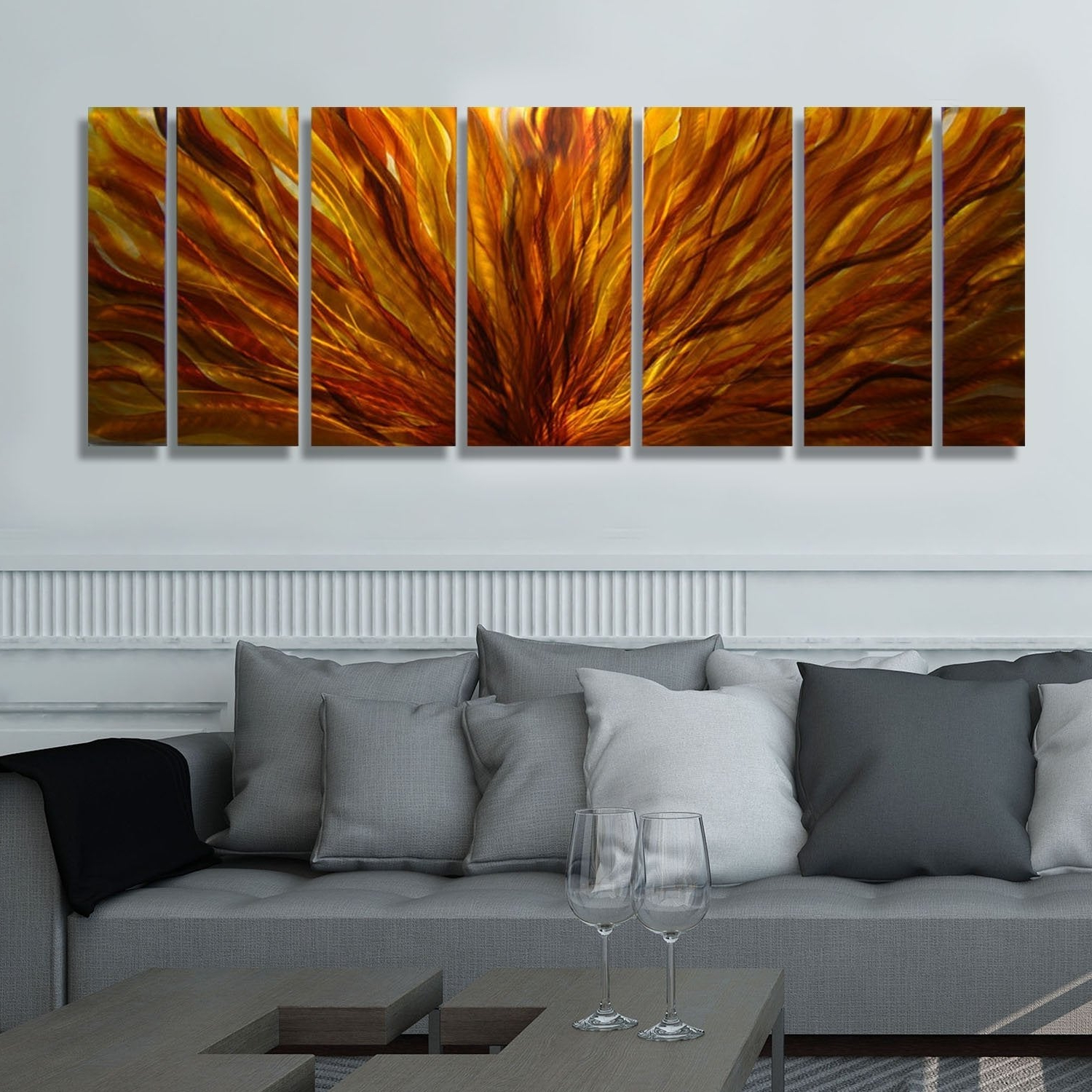 Favorite Contemporary Forest Metal Wall Decor Pertaining To Orange Metal Art (View 17 of 20)