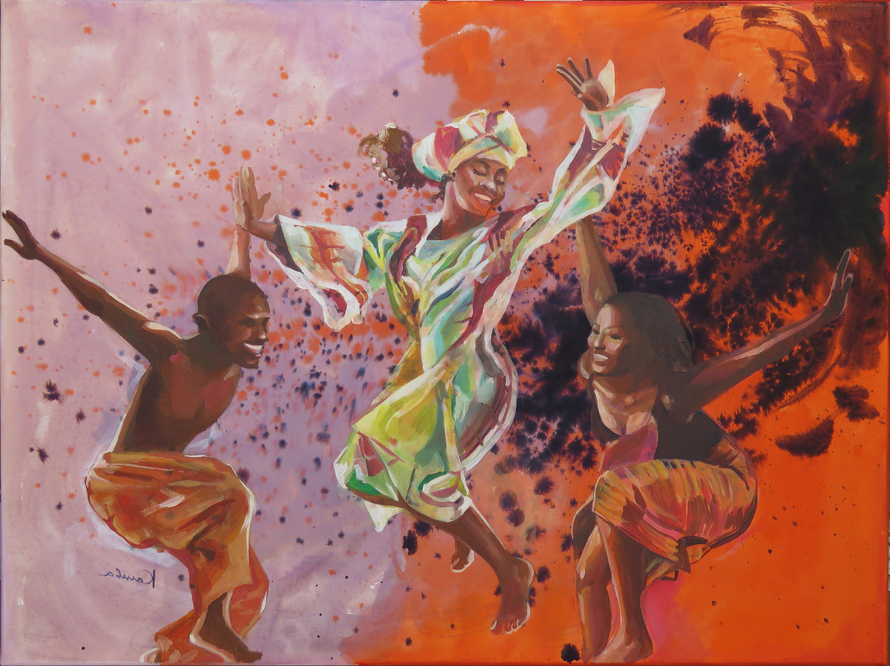 Favorite Dance Of Desire Wall Decor Within African Dancers Acrylic Painting On Canvas Mixed Media: Ink (View 11 of 20)