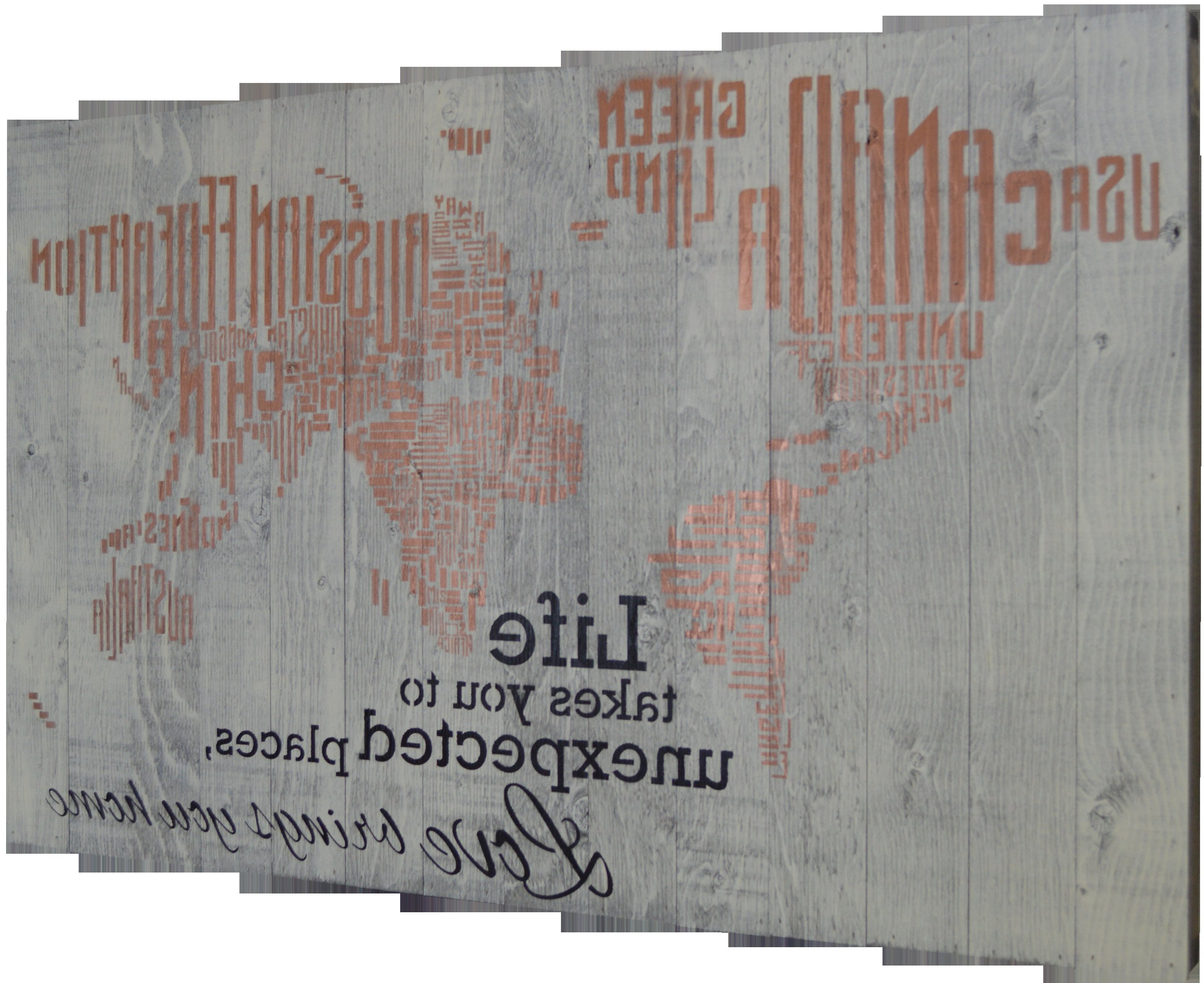 "Firesidehome In A Word World Map – Life Takes You To Unexpected Pertaining To Most Recent In A Word ""welcome"" Wall Decor By Fireside Home (View 7 of 20)"