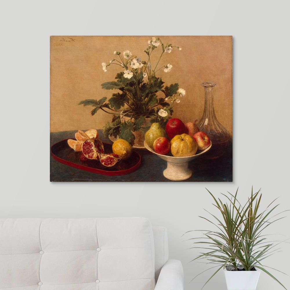 "Greatbigcanvas ""flowers, Dish With Fruit And Carafe, 1865""ignace Intended For Preferred Latour Wall Decor (View 4 of 20)"