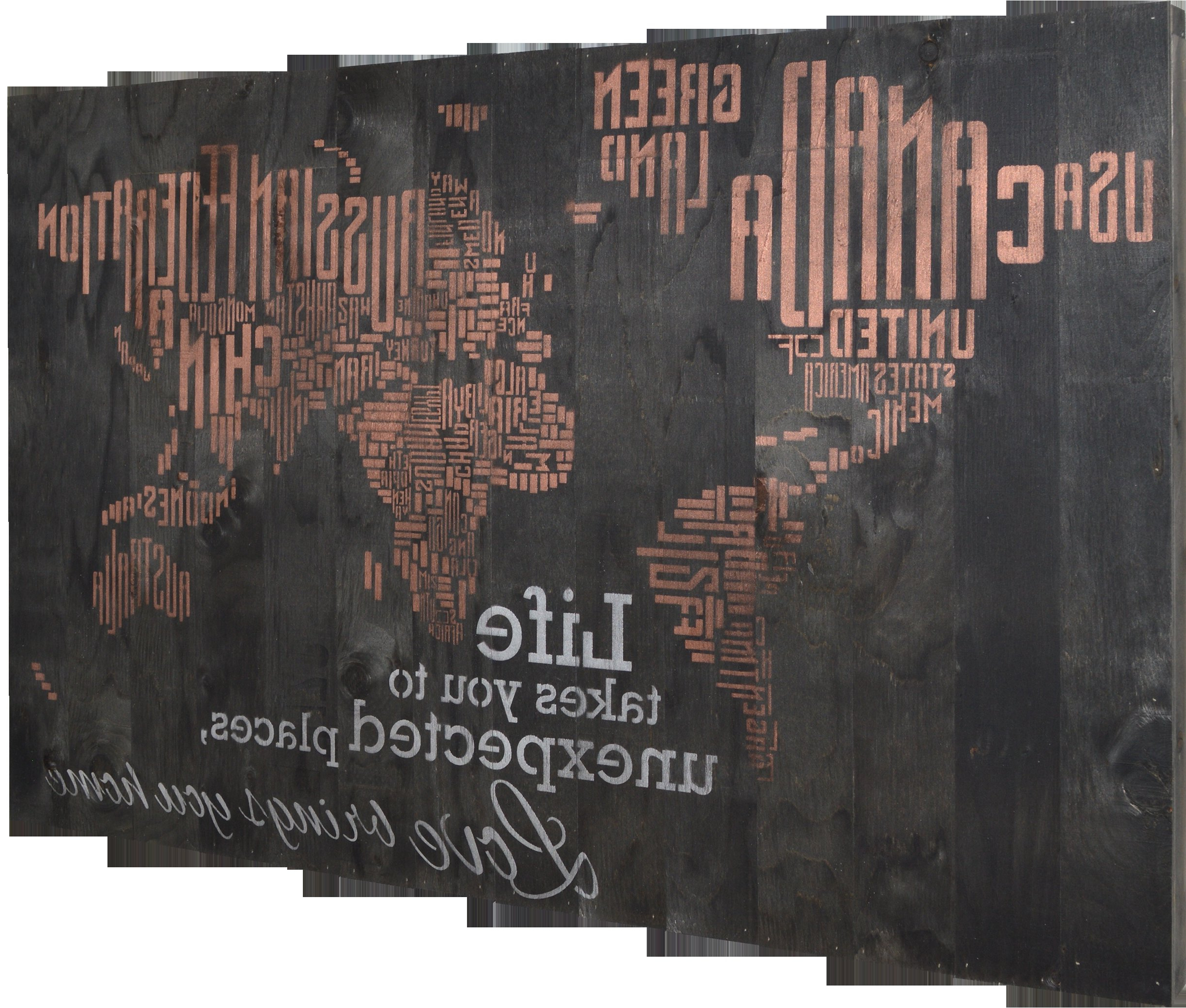"In A Word ""welcome"" Wall Decor By Fireside Home Throughout Newest Firesidehome In A Word World Map – Life Takes You To Unexpected (View 5 of 20)"