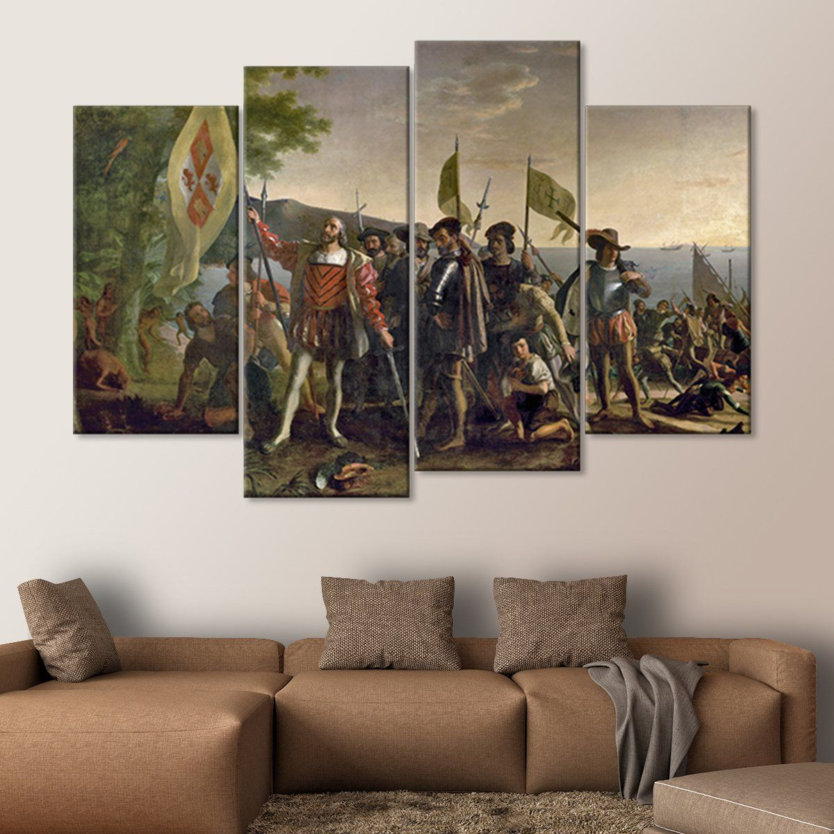 Landing Art Wall Decor Intended For Well Liked Landing Of Christopher Columbus Multi Panel Canvas Wall Art In  (View 15 of 20)