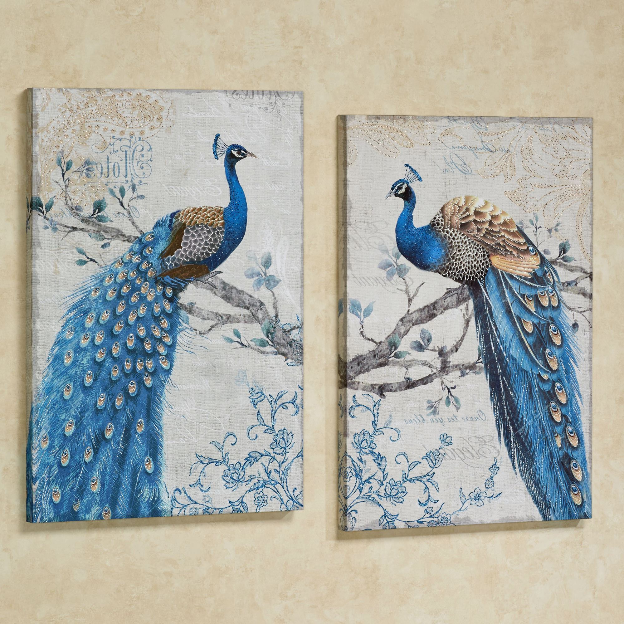 Latest Magnificent Peacock Giclee Canvas Wall Art Set Pertaining To Panel Wood Wall Decor Sets (Set Of 2) (Gallery 20 of 20)