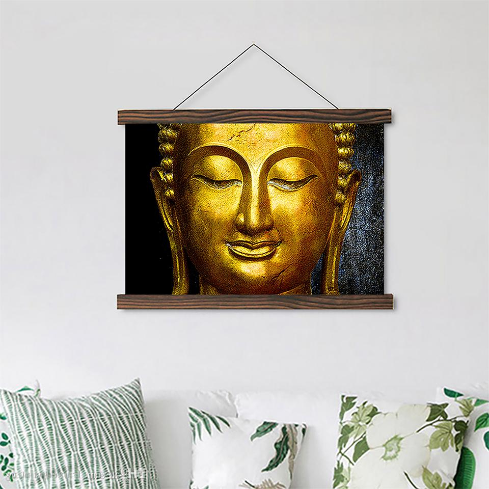 Latest Scroll Framed Wall Decor Intended For Scroll Canvas Paintings Gold Buddha Posters Hd Prints Wooden Frame Pictures  Crafts Hanging Home Wall Art Decor For Living Room (View 8 of 20)