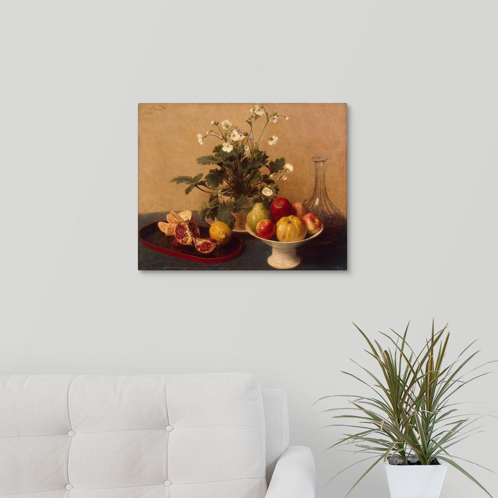 "Latour Wall Decor For Most Recent Greatbigcanvas ""flowers, Dish With Fruit And Carafe, 1865""ignace (View 7 of 20)"