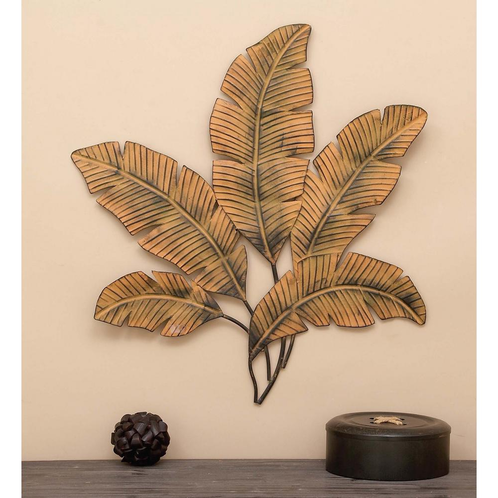 Litton Lane 34 In. X 35 In. Iron Palm Leaves Wall Decor 97920 – The Within Latest Tree Shell Leaves Sculpture Wall Decor (Gallery 14 of 20)