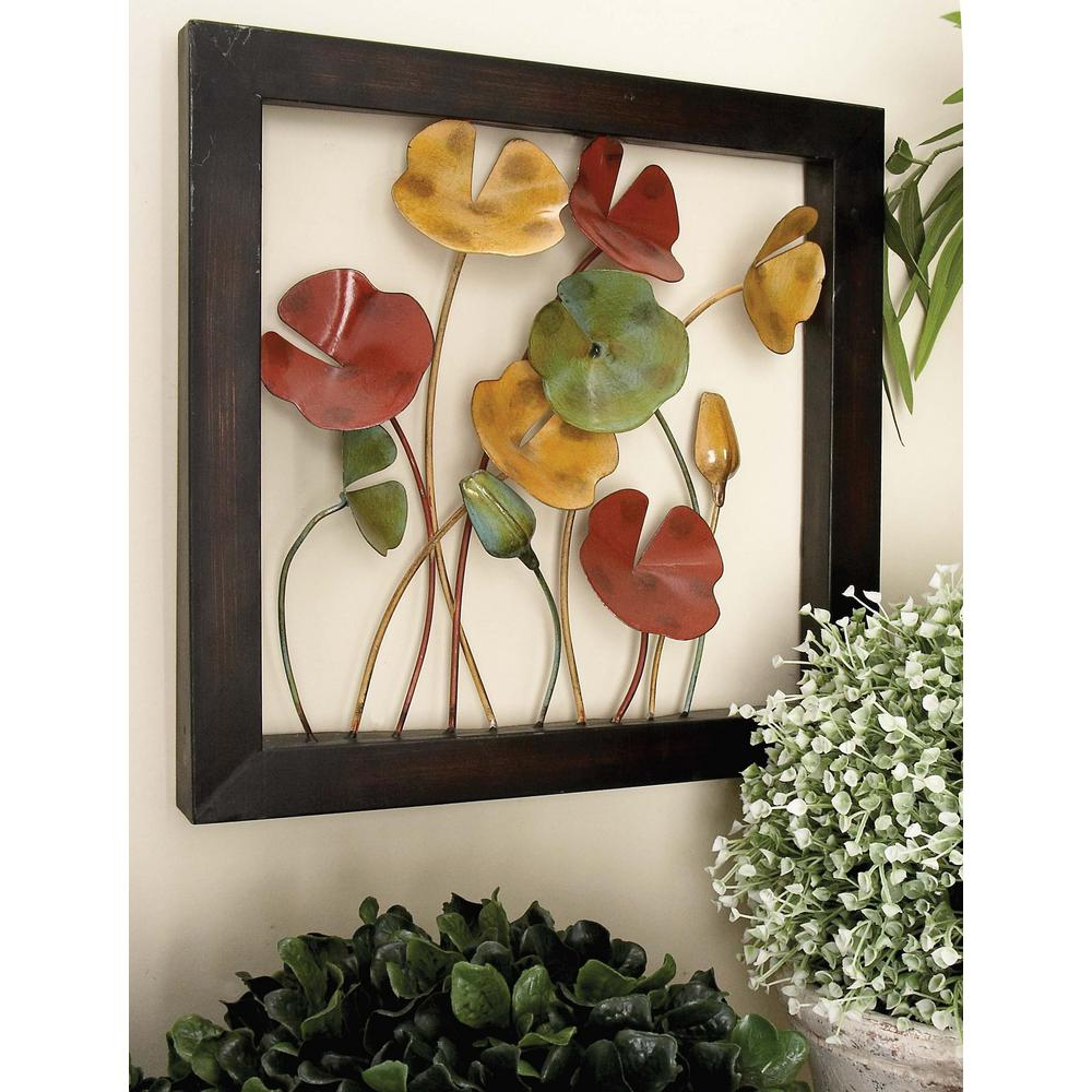 Litton Lane 4 Piece New Traditional Poppy Flower With Copper Stems With Regard To Famous Metal Wall Decor (Set Of 4) (View 4 of 20)