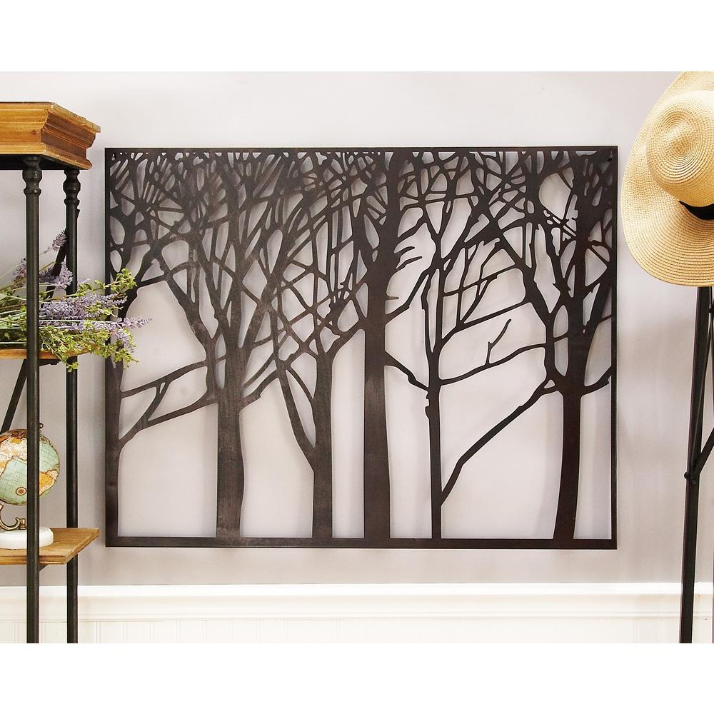 Litton Lane Modern Black Iron Tree And Branch Silhouette Wall Decor Regarding 2019 Contemporary Iron Leaves Wall Decor By Winston Porter (View 7 of 20)
