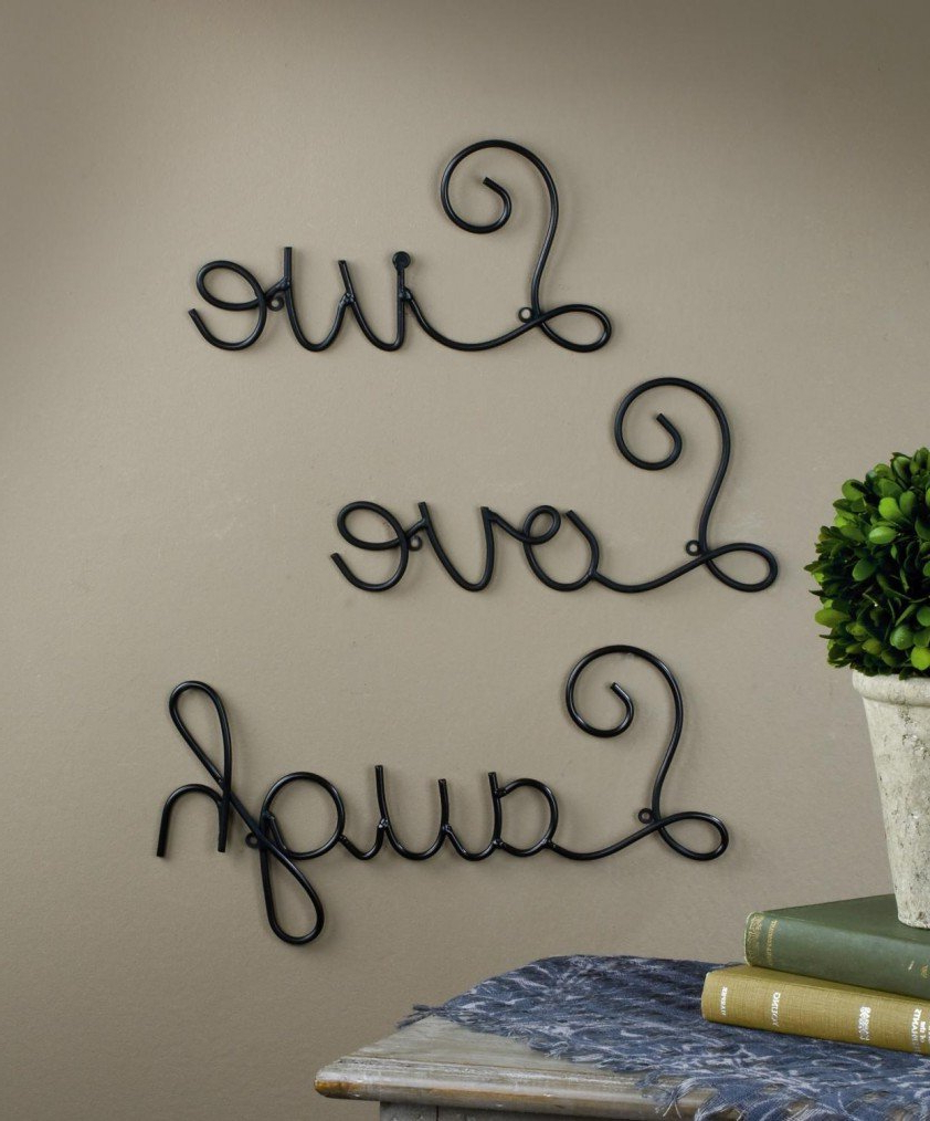 Live Love Laugh Set 3 Wall Mount Metal Wall Word Sculpturesuper For Well Liked Live Love Laugh 3 Piece Black Wall Decor Sets (Gallery 6 of 20)