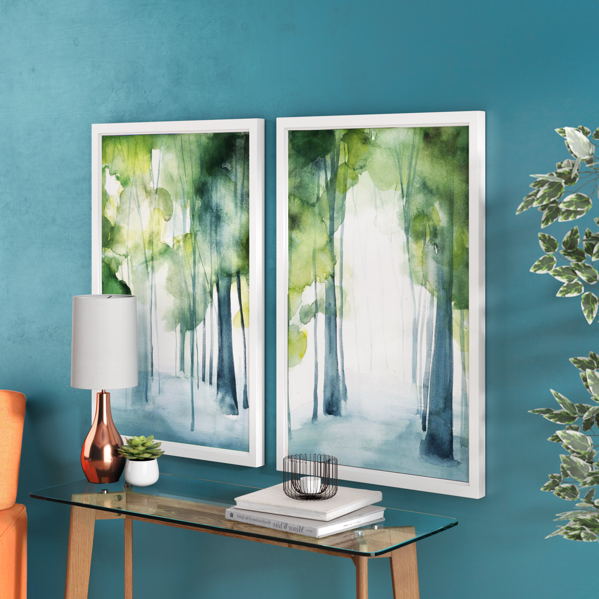 Mercury Row 'through The Haze Diptych' 2 Piece Framed Watercolor In Well Known Osceola Double Heron Wall Decor (View 5 of 20)