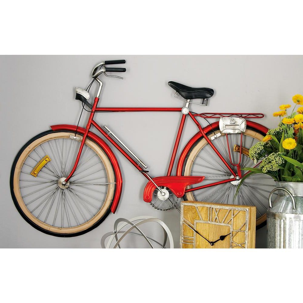 Metal Bicycle Wall Decor With Fashionable Metal Red Bicycle Wall Decor 65536 – The Home Depot (Gallery 5 of 20)