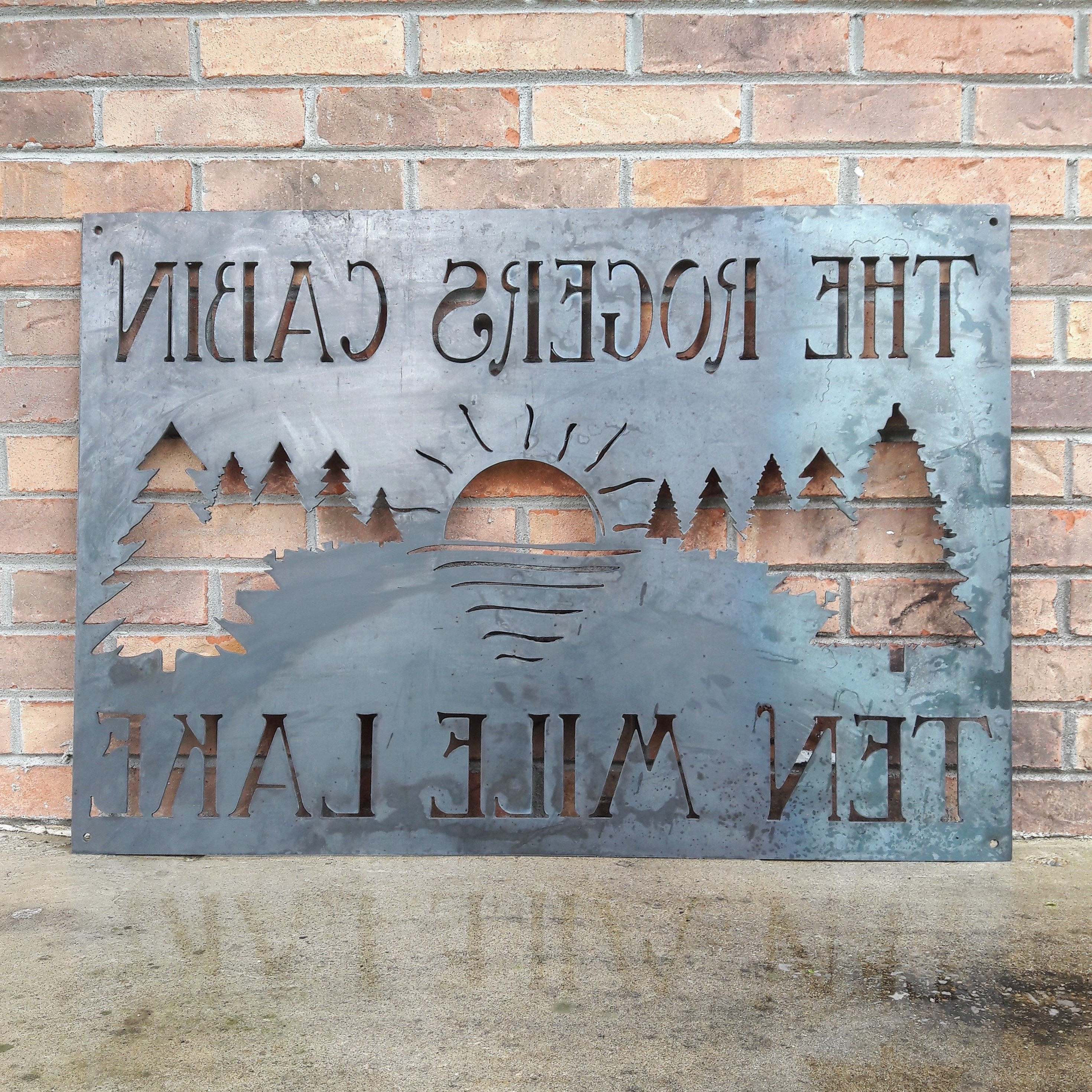 Metal Cabin Sign – Custom Metal Sign, Your Text (Gallery 19 of 20)