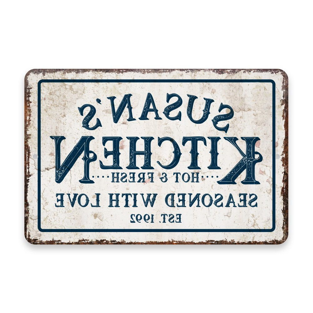 Most Current Amazon: Personalized Vintage Distressed Look Kitchen Seasoned Inside Personalized Mint Distressed Vintage Look Laundry Metal Sign Wall Decor (View 6 of 20)