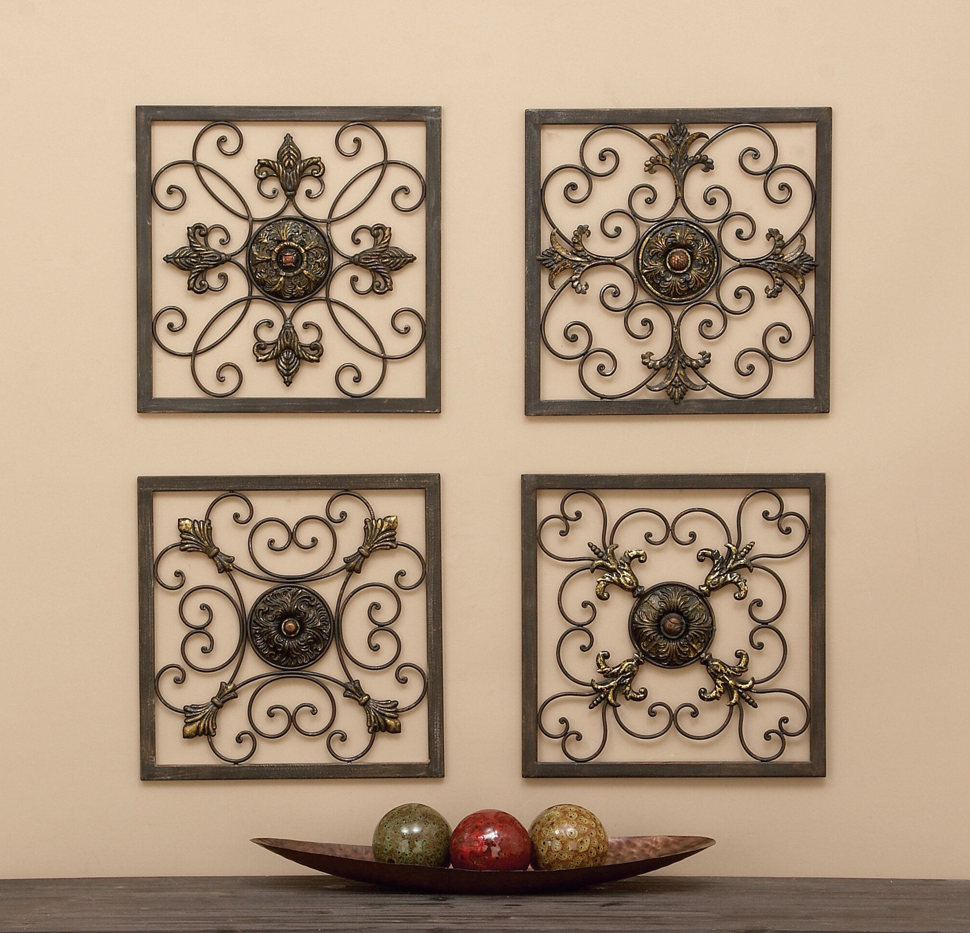 Most Current Cole & Grey 4 Piece Metal Wall Plaque Décor Set & Reviews (View 7 of 20)