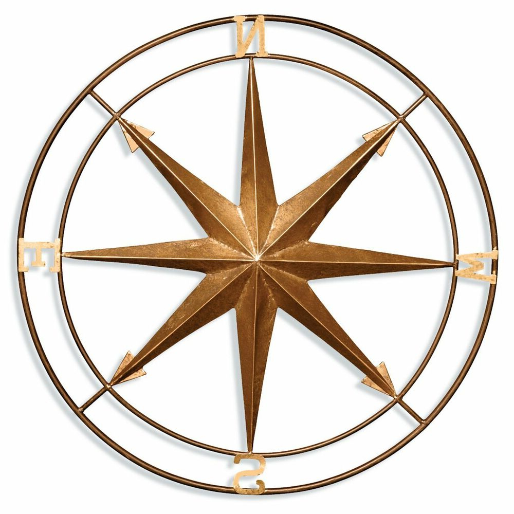 Most Current Compass Wall Decor Metal Vintage Style Nautical Art Hanging Inside Raised Star Wall Decor (View 9 of 20)