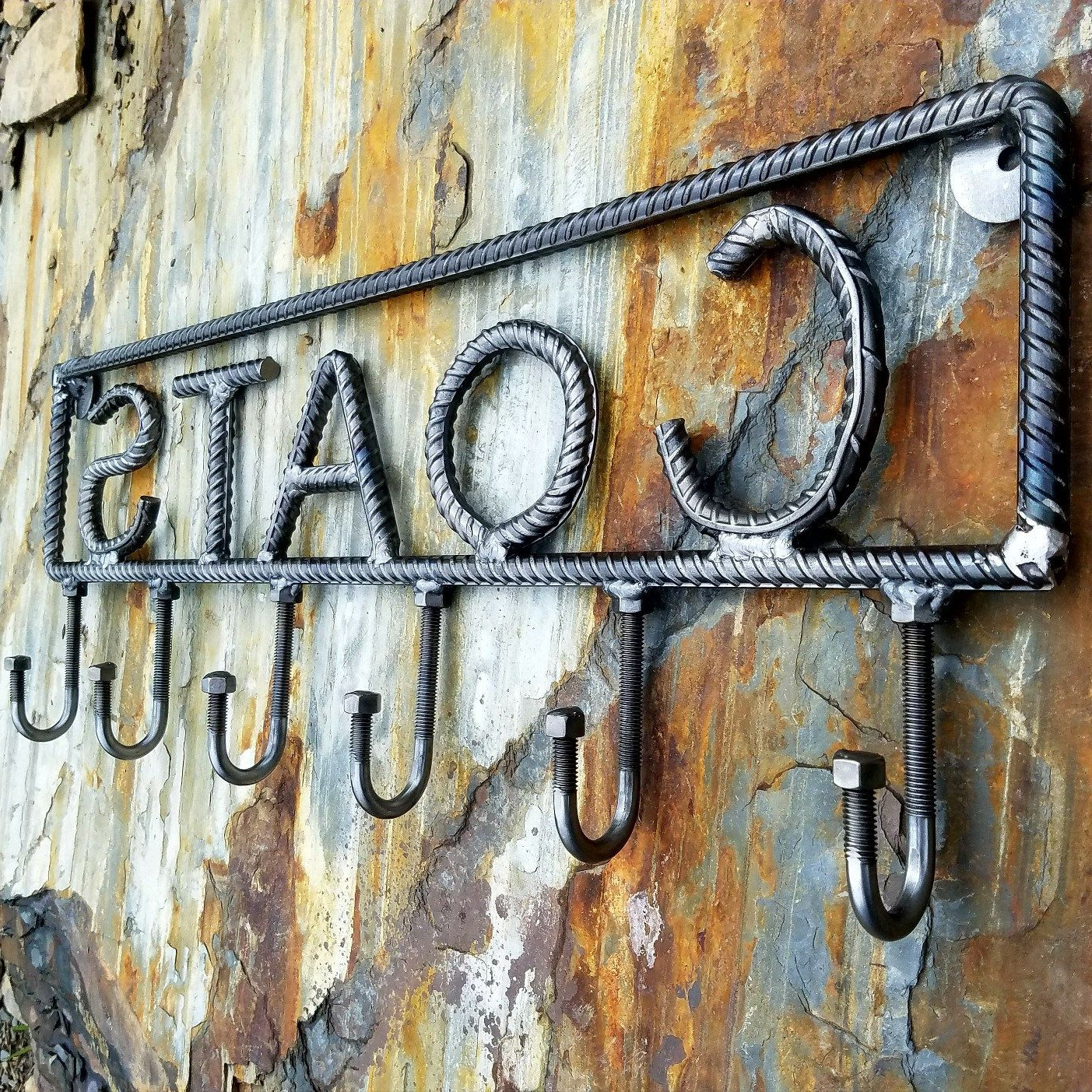 "Most Current Grey ""eat"" Sign With Rebar Decor Within Farmersmetals.etsy Rustic Industrial Coat Rack! Rebar Coat Rack (Gallery 15 of 20)"