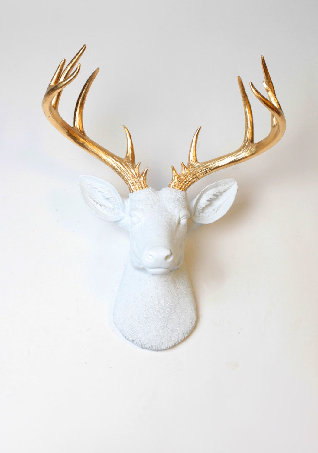 Most Current Large Deer Head Faux Taxidermy Wall Decor Regarding Deer Head Wall Mount Decor – The Xl Alfred – White And Gold Deer (View 14 of 20)