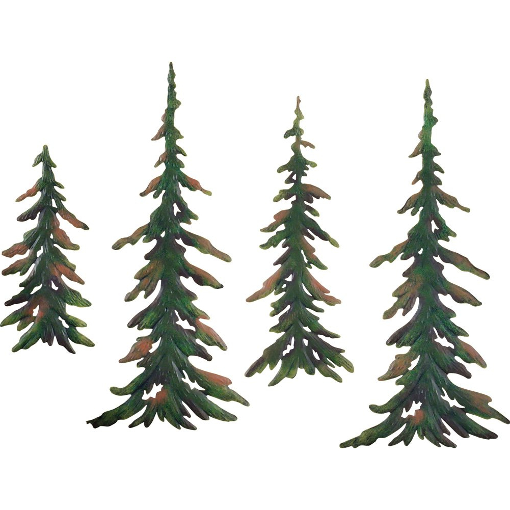Most Current Metal Wall Decor (Set Of 4) For Amazon: Collections Etc Evergreen Pine Tree Metal Wall Decor Set (View 6 of 20)