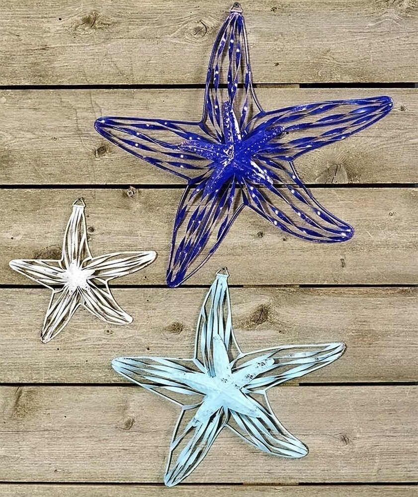 Most Current Starfish 3 Pc Coastal Wall Hanging Set Nautical Beach Ocean Sea Home Within Yelton 3 Piece Starfish Wall Decor Sets (View 9 of 20)