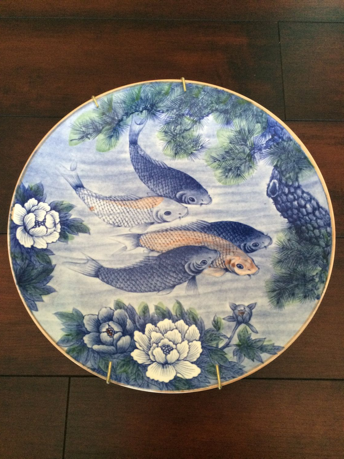 Most Popular Ceramic Blue Fish Plate Wall Decor Throughout Koi Dish Platter, Sun Ceramics, Large Platter Made In Japan, 1960's (View 4 of 20)