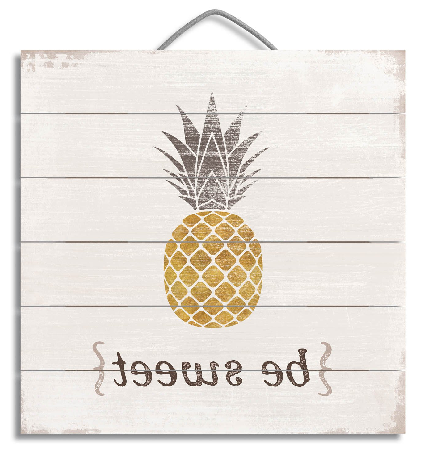 "Most Popular Pineapple Wall Decor Throughout Amazon: 12"" Inspirational Wood Sign ""be Sweet – Pineapple"" Wall (Gallery 9 of 20)"