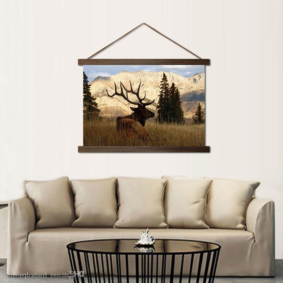 Most Popular Scroll Framed Wall Decor Within Hd Prints Canvas Mountain Deer In Forest Poster Wall Art Paintings Hanging  Scroll Wooden Frame Pictures Home Decor Living Room (View 11 of 20)